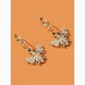 Simple Dainty Gold Art Bee Drop Statement Earrings